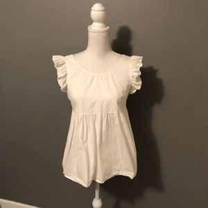Ruffle Trim Tied Open Back Smock Top